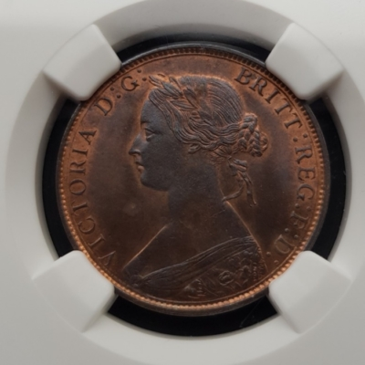 1862 Half Penny Uncirculated graded MS 65 RB