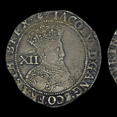 James Ist Shilling, first coinage 2nd bust