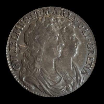 William and Mary (1688-94), silver Halfcrown, 1690, GRETIA error