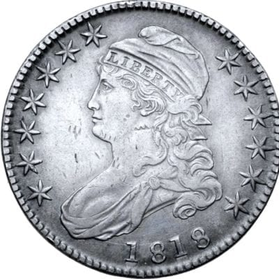 1818 Draped bust of Liberty left, wearing Phrygian cap; seven stars before, six stars behind, date below