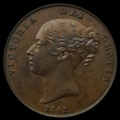 Victoria (1837-1901), copper Penny, 1841 Young filleted head left, date below, W.W. incuse on truncation