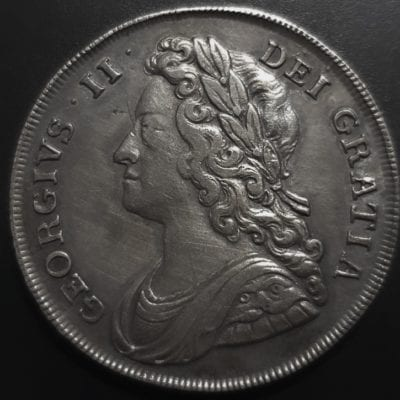 George II (1727-60), silver Halfcrown, 1741, young laureate and draped bust