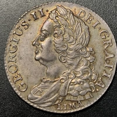 George II (1727 – 1760), Shilling, laureate, draped & cuirassed bust