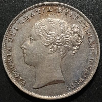 Queen Victoria Young Head Shilling, 1865, Type A4