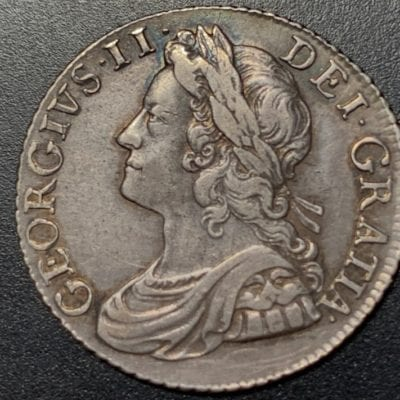 George II (1727-60), silver shilling , 1741, young laureate and draped bust left, legend and toothed border surrounding