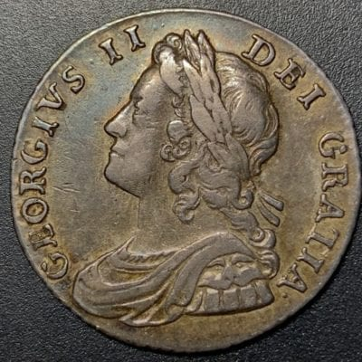 George II (1727-60), silver shilling , 1736