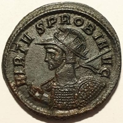 Probus Billion Antoninianus Ticinum, AD 279. VIRTVS PROBI AVG, radiate, helmeted, cuirassed bust left