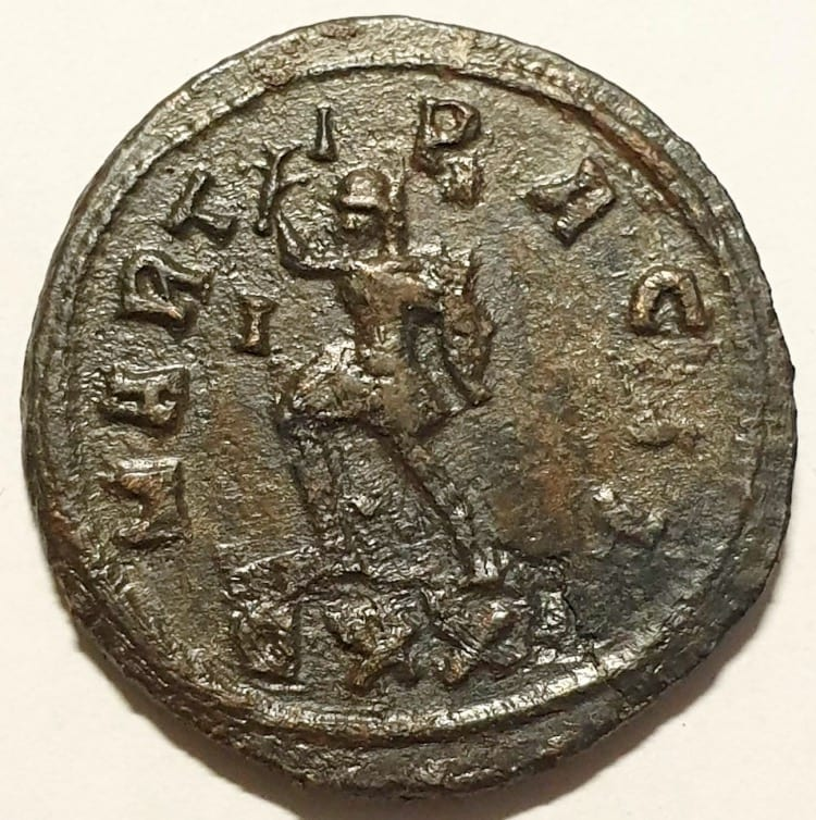 Probus Billion Antoninianus Ticinum, AD 279. VIRTVS PROBI AVG, radiate, helmeted, cuirassed bust left