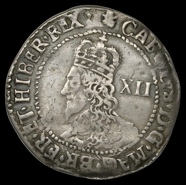 Charles I (1625-1649), Oxford mint, Shilling, 1644, mintmark, Shrewsbury plume on obverse only, large bust with jewelled armour and lozenge stops on obverse