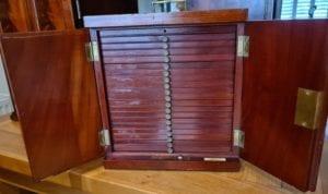 A mahogany coin cabinet, ex Baldwin