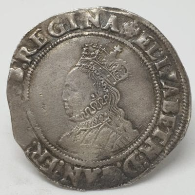 Elizabeth I (1558-1603) Shilling, second Issue 1560-1. Obverse, Crowned bust of Elizabeth facing left with beaded inner circles, Mintmark Cross Crosslet