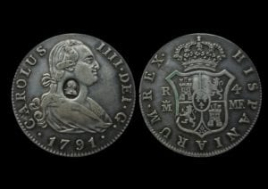 George III (1760-1820), oval countermark upon Spanish Four Reales of King Charles IIII (1788-1808)