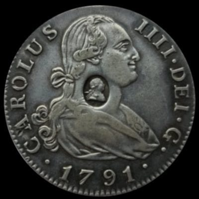 George III (1760-1820), oval countermark upon Spanish Four Reales of King Charles IIII (1788-1808)