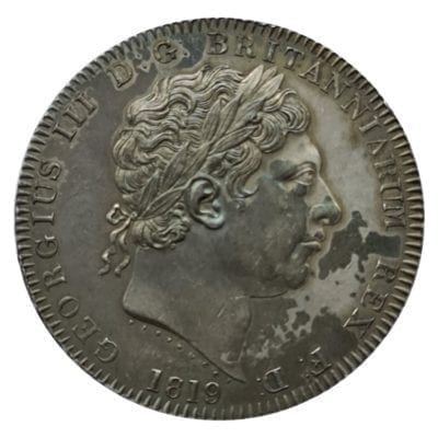 George III (1760-1820), silver Crown, 1819 LIX