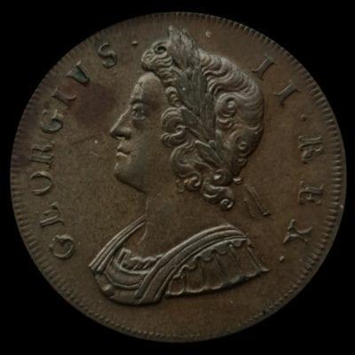 George II (1727-60), copper Halfpenny, 1729