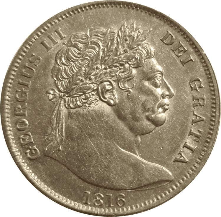 """George III (1760-1820), silver Halfcrown, last coinage, 1816, """"bull"""" type date below, Crowned quartered shield of arms, within buckled garter"""