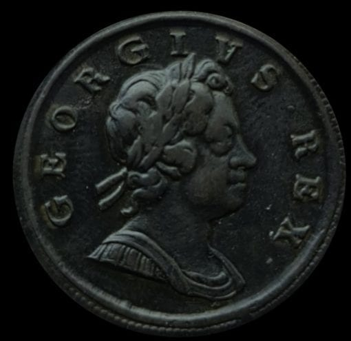 """George I (1714-1727), """"Dump"""" issue Copper Halfpenny 1717, first issue, laureate and cuirassed bust right, toothed border both sides"""