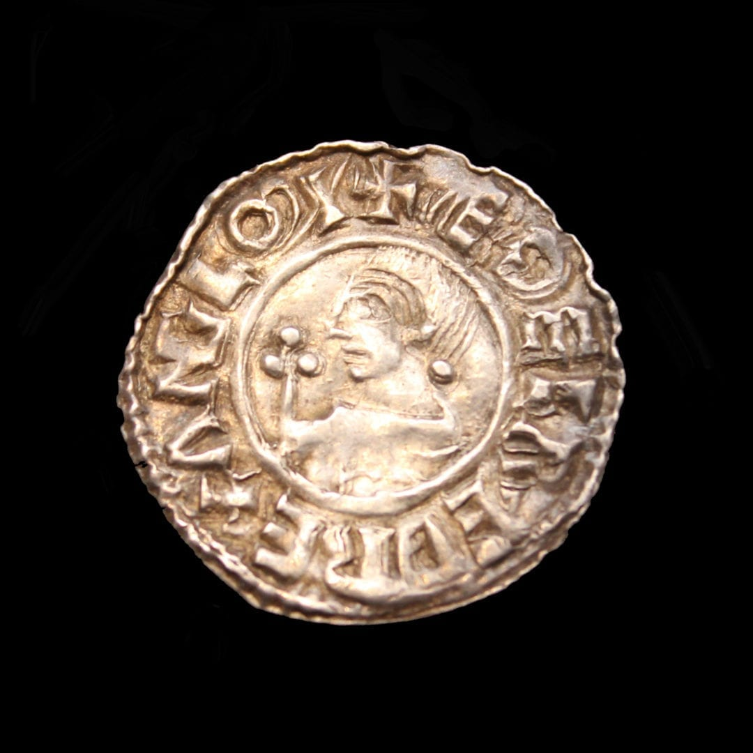 Aethelred II crvx type penny, Bare head bust facing left, with sceptre,