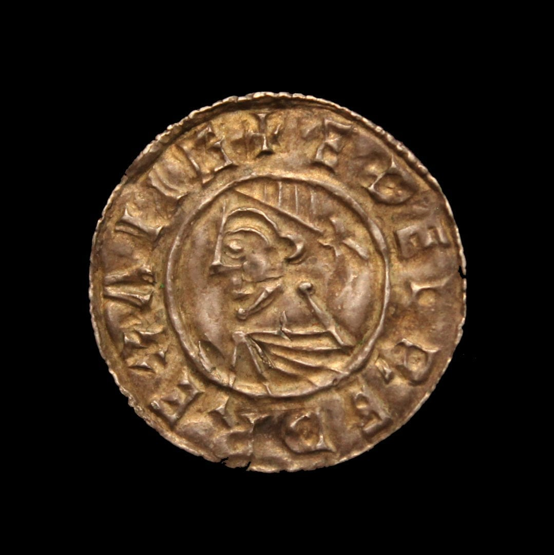 Aethelred II Penny, last small cross type, diademed buts, facing left, PVLFBERN on Linc