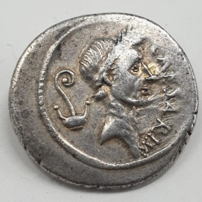 Julius Caesar, Lifetime Issue Denarius, Roman Imperators January-February 44 BC, Silver Denarius, Lifetime issue Rome mint