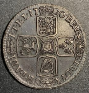 George I (1714-27),Shilling, 1720, first laureate and draped bust right