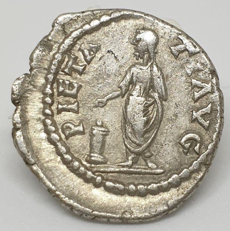 Pescennius Niger Denarius Pietati, 193-194 AD, struck at Antioch mint.