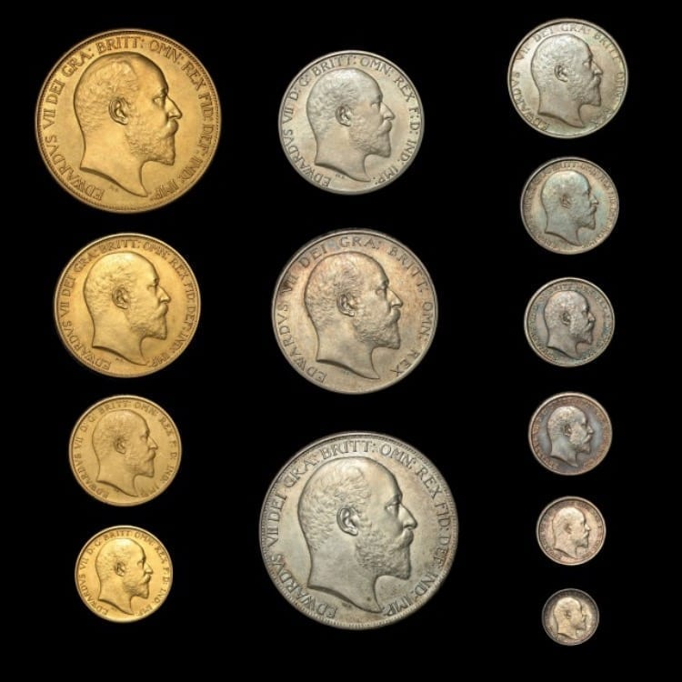 EDWARD VII 1902 11-COIN PROOF SET (SOVEREIGN TO MAUNDY PENNY) BOXED