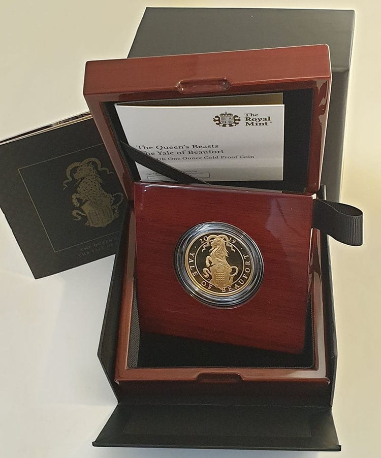 Queens Beast Yale of Beaufort complete Gold Proof One Ounce