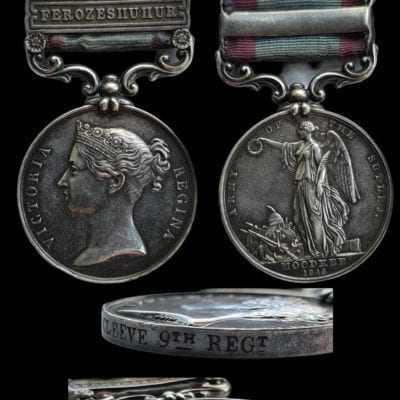 Sutlej 1845-46, for Moodkee, 2 clasps, Ferozeshuhur, Sobraon (Charles Cleeve, 9th Regiment)