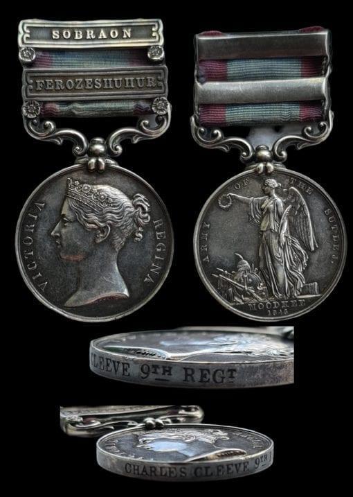 Sutlej 1845-46, for Moodkee, 2 clasps, Ferozeshuhur, Sobraon (Charles Cleeve, 9th Regiment)