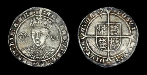 Edward VI, Sixpence Fine silver issue, (1551-3) Facing bust, Tudor rose left, value VI right, small letters to legend both sides