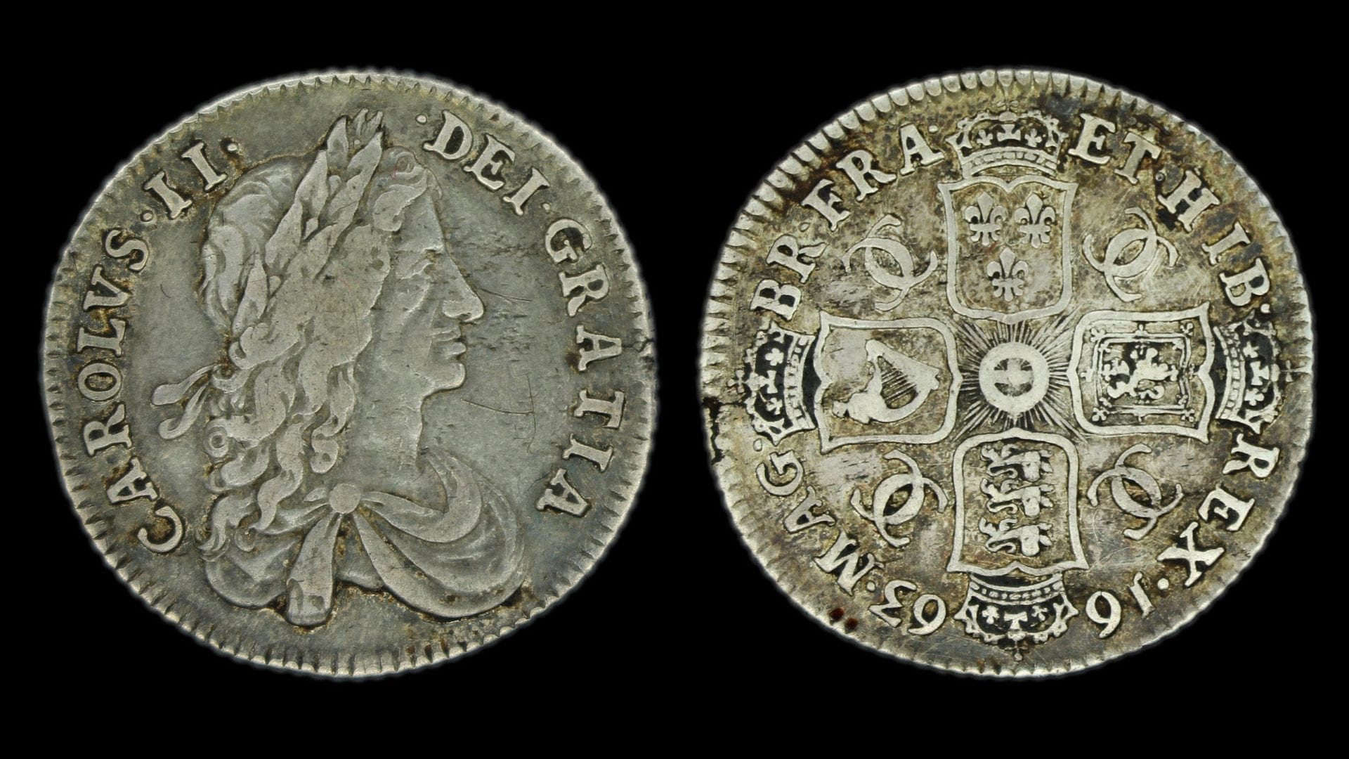 Charles II 1663 Shilling Transposed Shields