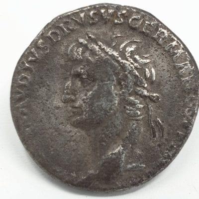 Nero Claudius Drusus (died 9 BC). Silver Denarius Lugdunum, c. AD 41-45. Laureate head left