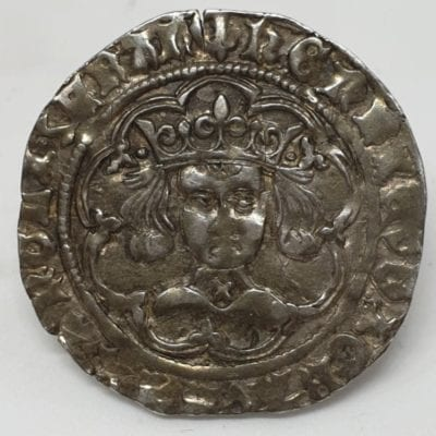 Henry VI, Cross Pellet [C] Issue, Groat, London, saltire on neck and pellets beside crown