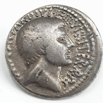 The Triumvir, Octavian, Spring-early summer 36 BC. AR Denarius. Southern or central Italian mint. Bareheaded facing right, reverse Tetrastyle temple of Divus Julius