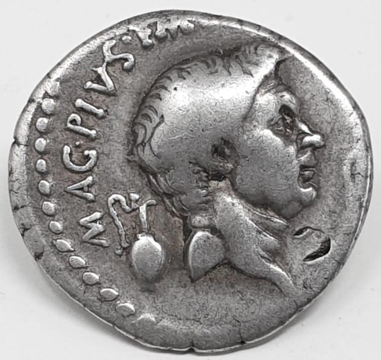 Sextus Pompey (76-35 BC), silver denarius, Catania (Sicily), 42-40 BC, Catanaean brothers