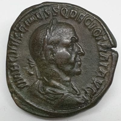Trajan Decius Sestertius Ilyricum, AD 249-251 Genius of the Army of Illyricum